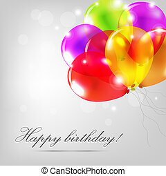 Birthday Card With Color Balloons, Vector Illustration