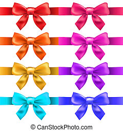Big Ribbons With Bow, Isolated On White Background, Vector...