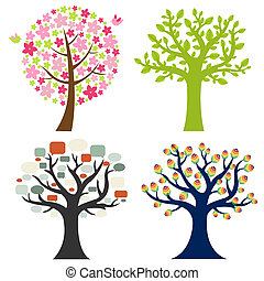 Big Set Tree - 4 Color Tree, Isolated On White Background,...