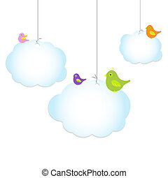 Birds Sitting On loud, Isolated On White Background, Vector...