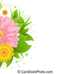 Abstract Flowers And Blot, Isolated On White Background,...