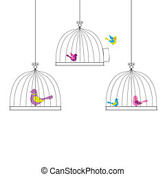 Birds - 6 Birds in Cage, Isolated On White Background,...