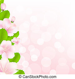 Apple Tree Flowers With Bokeh, Vector Illustration