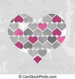Abstract Hearts Background, Vector Illustration