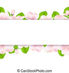 maçã, árvore, flores, com, papel,