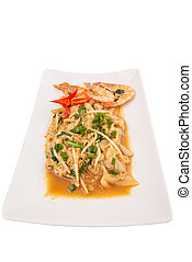 Char Kway Teow - A plate of char kway teow with prawns and...