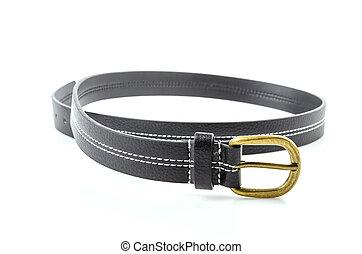 Black leather belt isolated white background