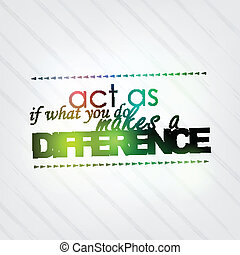 What you do makes a difference - Act as if what you do makes...