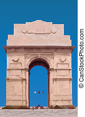 India Gate illustration in triangular pattern style