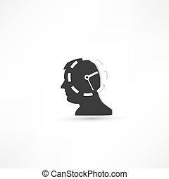 Man thinks about time Businessman concept icon