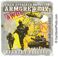 batalyon infantry attacker - military vector illustration...