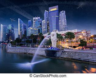 merlion - Sunrise in the morning at merlion Singapore Marina...