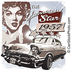 Americas Glamorous 1957 - vintage classic car vector for...