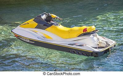 Jetski on water. - A Jetski parked on the waters of Black...