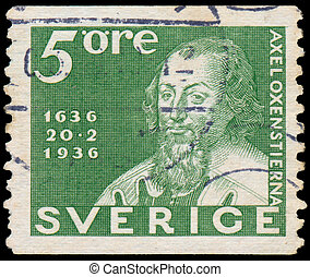 Stamp printed in the Sweden shows Chancellor Axel...
