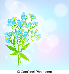 Card with forget me not flower - Vector floral spring...