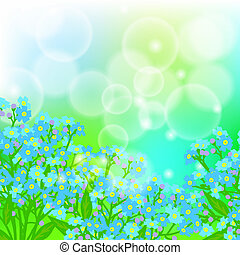 Card with forget me not flowers on sun light - Vector floral...
