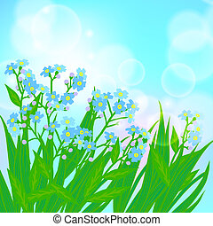 Card with forget me not flowers on sun light