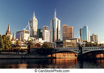 Melbourne, Victoria, Australia - A view of the Yarra River,...