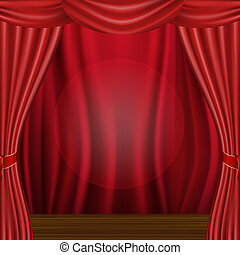 Scene And Curtains - Theater Velvet Curtain With Lights And...