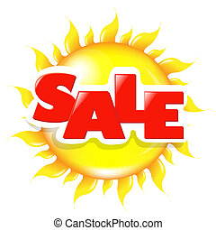Sun Poster Sale, Isolated On White Background, Vector...