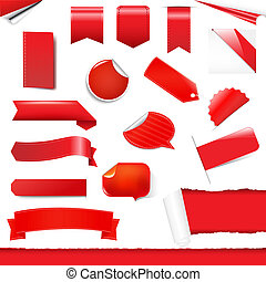 Red Labels And Stickers Set, Isolated On White Background,...