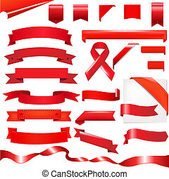 Red Set - Red Ribbons Set, Isolated On White Background,...