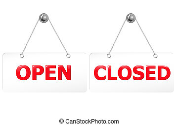 abertos, e, fechado, vermelho, Signs, ,