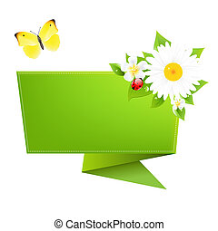 Origami With Butterfly, Isolated On White Background, Vector...