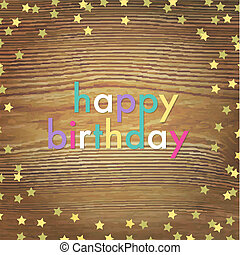 Wooden Happy Birthday Card With Gold Stars