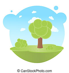 Tree - Cartoon Landscape With Trees And Clouds, Vector...