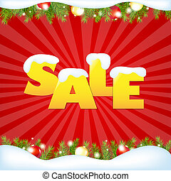 Red Sale Winter Poster With Gradient Mesh, Vector...