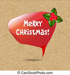 Speech Bubble With Christmas Decoration, Vector Illustration