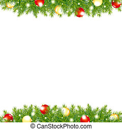 Xmas And Happy New Year Border, Vector Illustration
