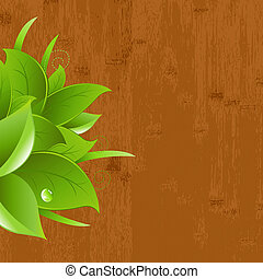 Wood Background With Leaf And Drops, Vector Illustration