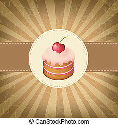 Retro Label With Cupcake With Vintage Background, Vector...