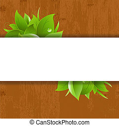 Wood Background With Leaves And Drops, Vector Illustration