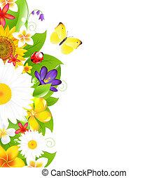 Summer Flowers And Leaf Border, Vector Illustration