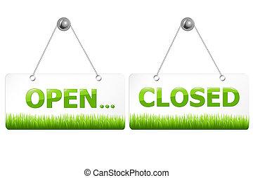 abertos, e, fechado, sinais,