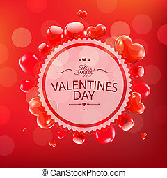 Red Happy Valentines Day Card, With Gradient Mesh, Vector...