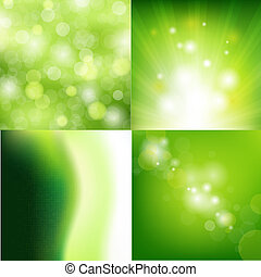 Nature Backgrounds Set - 4 Nature Backgrounds, Vector...