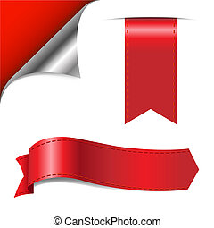 Red Set - Red Corner And Ribbons, Isolated On White...
