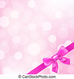 Pink Ribbons And Bokeh Background, Vector Illustration