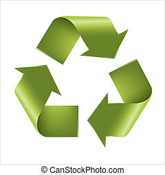 Recycle Symbol, Isolated On White Background, Vector...