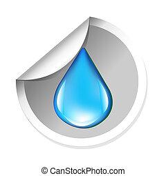 Pegatina, con, agua, gota,