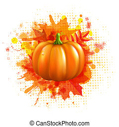 Orange With Blobs Autumn Leafs And Pumpkin, Vector...