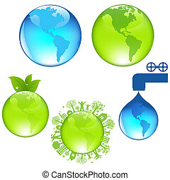 Set Of Globe, Isolated On White Background, Vector...