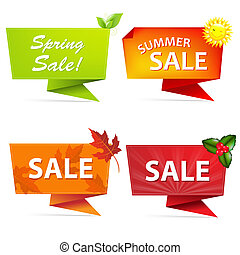 Sale Origami Banners Set - 4 Sale Origami Banners, Isolated...