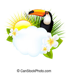 Tropical Illustration With Toucan