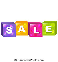 Sale Cube, Isolated On White Background, Vector Illustration